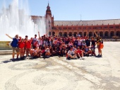 TECS Summer camp kids on excursion in Seville in Spain with monitors and teachers
