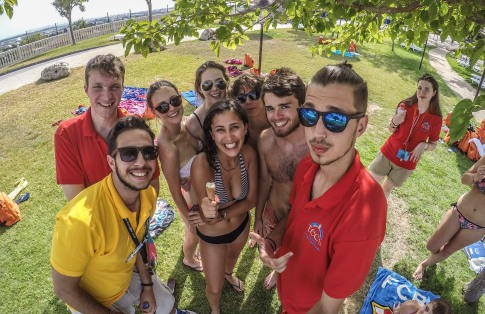 TECS Summer Camp staff (monitors and teachers) chilling out in the water park.