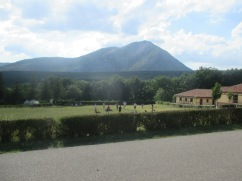 View of Sports Field and mountains in background Anglo Camp